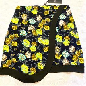 Missguided Black Floral Print Wrap Mini Skirt